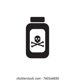 Poison or venom bottle with skull and crossbones vector icon. pesticides