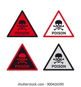 Poison warning sign vector set
