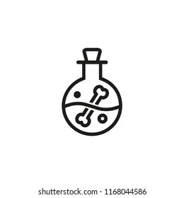 Poisonous potion in flask line icon. Bone, liquid, toxic. Halloween concept. Vector illustration can be used for topics like wizard, laboratory, science
