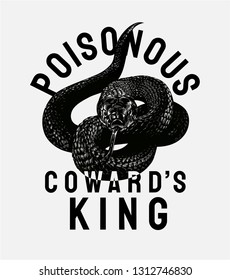 poisonous slogan with black snake illustration