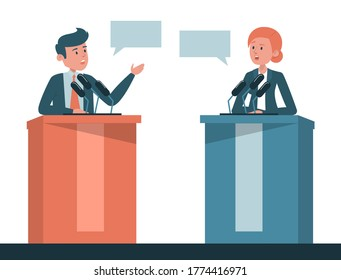 Poitical debate vector isolated. Two candidates on discussion,presidential election in USA. Man and woman at the microphone on tribune.