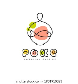 Poke Bowl Hawaiian Cuisine Artisanal Logo. Plate with Fish Healthy Food Restaurant Line Vector Illustration