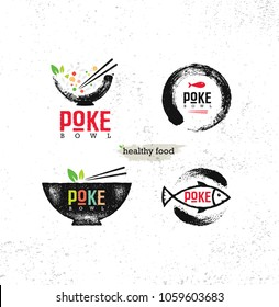 Poke Bowl Hawaiian Cuisine Restaurant Vector Design Element. Healthy Food Menu Creative Rough Illustration On Organic Background.