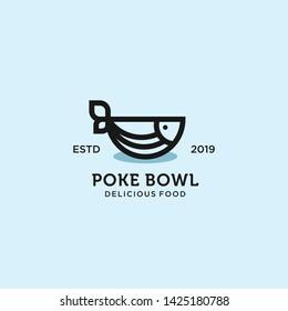 poke bowl hawaiian logo illustration vector template download