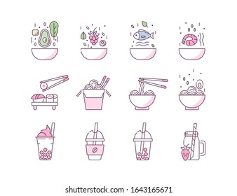 Poke Bowl Icons Set. Various Healthy Meals Symbols. Poke Salad, Noodles, Bubble Tea and Sushi. Asian Food and Beverage Signs Collection. Flat Line Cartoon Vector Illustration.