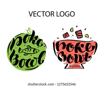 Poke Bowl Logo, icons and stickers for Restaurant Vector Design Element. Hand drawn Illustration. Eco colorful set