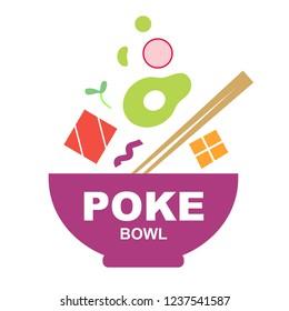 Poke bowl logo on white background