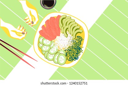 Poke bowl with salmon slices, cucumber, rice and wakame salad. Healthy food.
