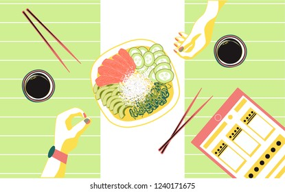 Poke bowl with salmon slices, rice, cucumbers, avocado, wakame salad, chopsticks, soy sause, hands. Healthy food.
