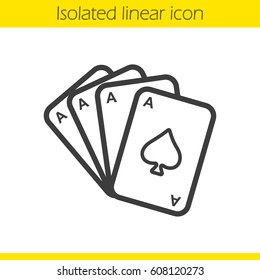 Poker ace quads linear icon. Casino thin line illustration. Playing cards deck contour symbol. Vector isolated outline drawing
