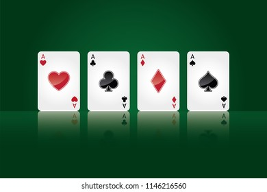 Poker aces, casino gambling cards
