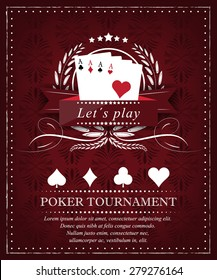 Poker background for tournament or presentation in retro style with ornate elements
