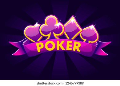 Poker banner background for lottery or casino, slot gambling icons with ribbon and game card signs