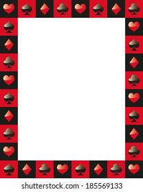 poker border frame game card red and black