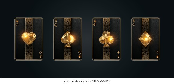 Poker card ace metallic black and gold texture shining poker cards