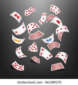Poker card heart scattered
