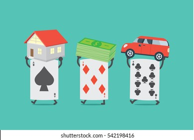 Poker card lifting home and money and car. This illustration description to were dispossessed because gambling.