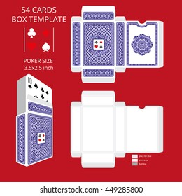 Poker card size tuck box template.Vector illustration ready design boxes for the game deck and three-dimensional preview.