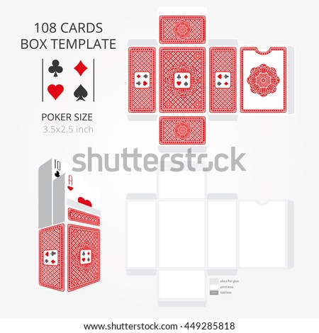 Poker Card Size Tuck Box Template Vector Stock Vector (Royalty Free ...