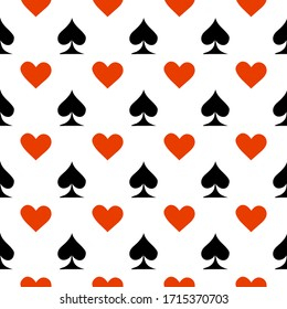 Poker card suit seamless pattern background. Can be used for wallpaper,fabric, web page background, surface texture.Abstract vector backround.