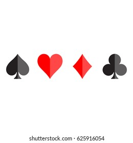 Poker card suits - hearts, clubs, spades and diamonds - on white background. Casino gambling theme vector illustration. Black and red shapes with simple glossy effect.