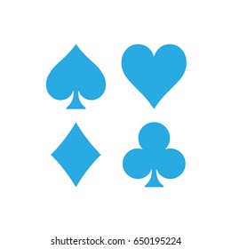 Poker card suits - hearts, clubs, spades and diamonds. Casino gambling theme vector illustration. Simple shapes in blue on white background.