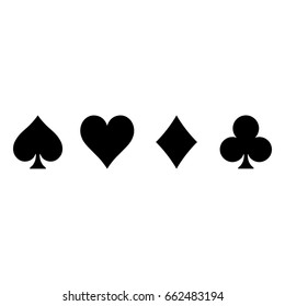 Poker card suits - hearts, clubs, spades and diamonds - on white background. Casino gambling theme vector illustration. Simple black silhouettes.