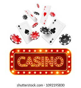 Poker cards and chips falling and casino vintage glowing neon singage. 3d online Casino and jackpot symbol, gambling game for luck and money. vector illustration