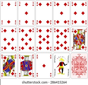 Poker cards diamond set four color classic design 600 dpi