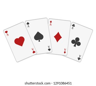 Poker cards in flat style on a white background, vector
