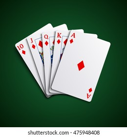 Poker cards flush diamonds hand