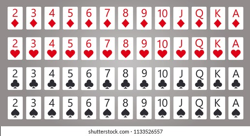 Poker cards, full deck. Gray background in a separate layer