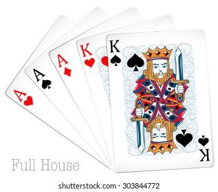 Poker cards full house illustration