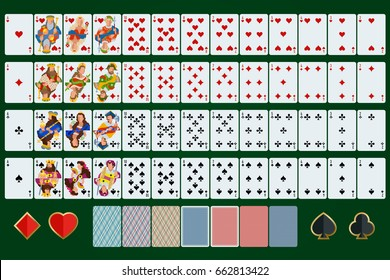 Poker cards full set with isolated cards on green background. Poker cards set four color  play poker cards