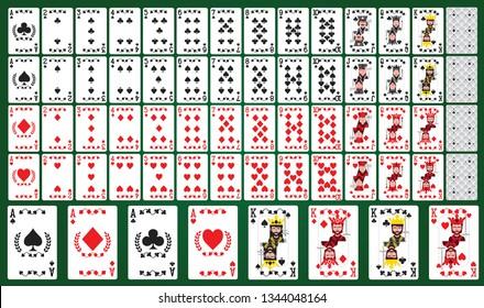 Poker cards full set on green background