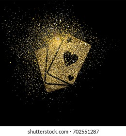 Poker cards symbol concept illustration, gold playing card deck icon made of realistic golden glitter dust on black background. EPS10 vector.