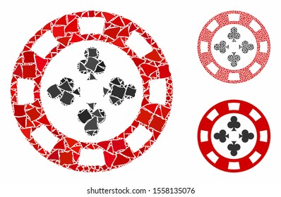 Poker casino chip composition of tremulant parts in variable sizes and color tones, based on poker casino chip icon. Vector tremulant items are united into collage.