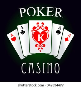Poker casino game symbol of four of a kind hand with four aces and king of hearts cards, decorated by swirling red ornament. For gaming industry design