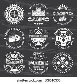 Poker and casino set of vector white gambling emblems, labels, badges or logos in vintage style isolated on dark chalkboard with removable grunge texture