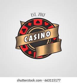 Poker, casino vector logo, symbol. Design element with casino chip and cards suits