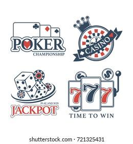 Poker championship at casino isolated promotional emblems set