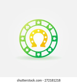 Poker chip icon with gold horseshoe inside - vector logo