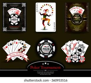 Poker chip.Casino background.Vip.Vintage style and Poker Tournament label. Joker. King. Ace. Royal flush