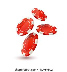 Poker chips design template. Chips falling dawn. Poker gambler design concept.