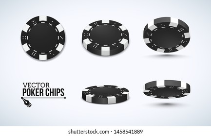 Poker chips in different position. Black chips isolated on light background. Vector illustration.