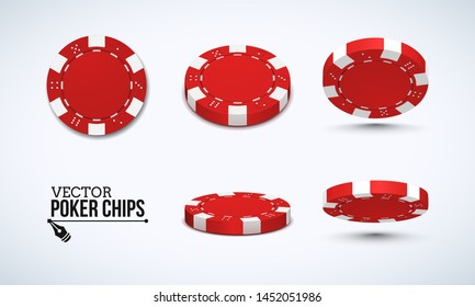 Poker chips in different position. Red chips isolated on light background. Vector illustration.