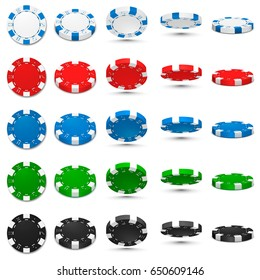 Poker chips in different position. White, red, blue, green and black chips isolated on white background. Vector illustration.
