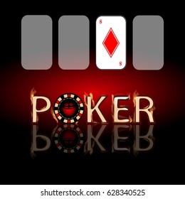 Poker chips. Icon for your design. Inscription poker on red background and diamond card