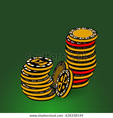 Poker Chips Icon Your Design Yellow Stock Vector (Royalty Free