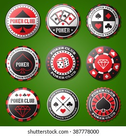 Poker chips Icons set, casino design elements, emblems, symbols, icons, labels, badges, objects. Casino Business signs template, logo, poker house identity concept.